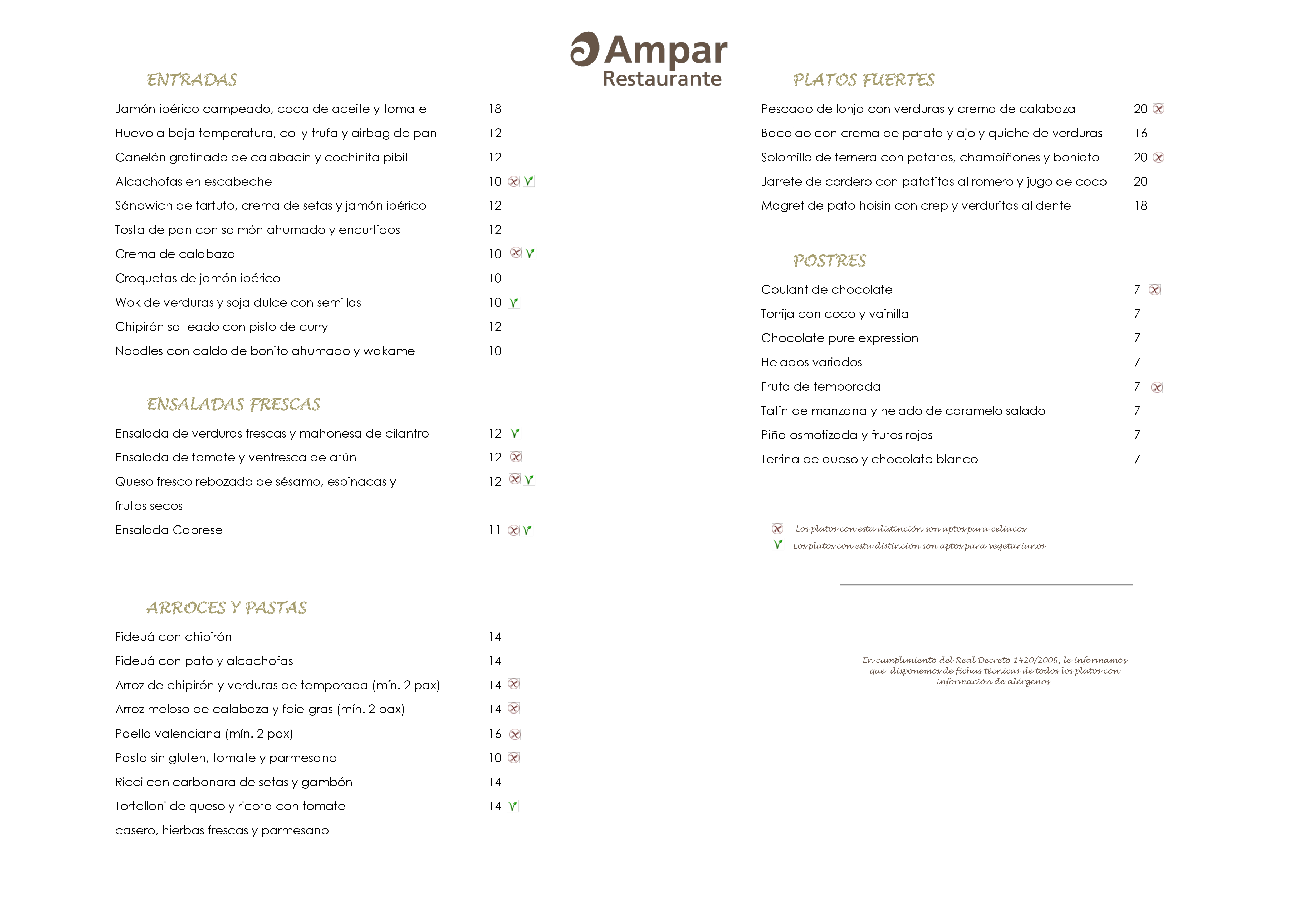 Restaurante Ampar Carta