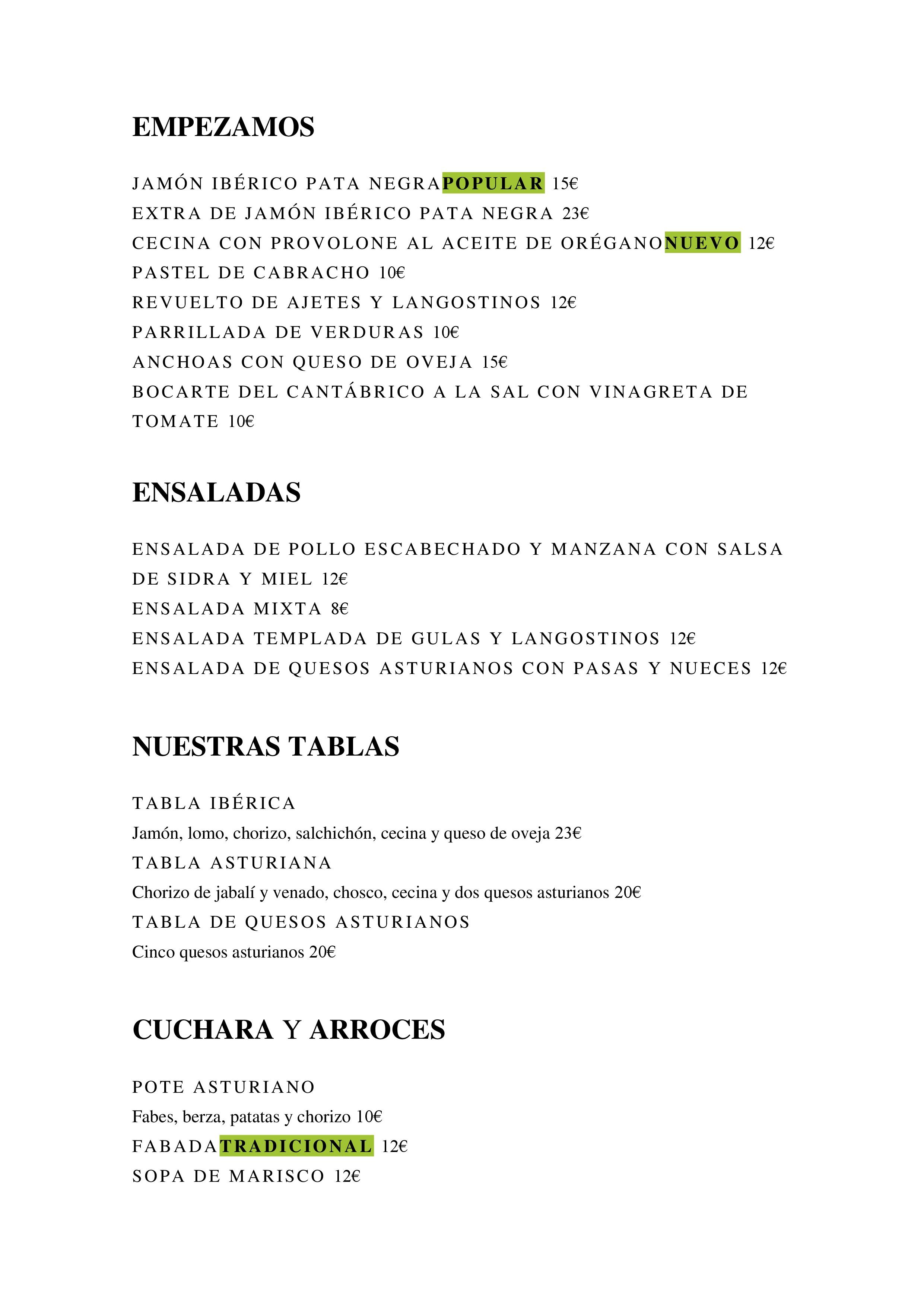 La Manzana sidreria Carta