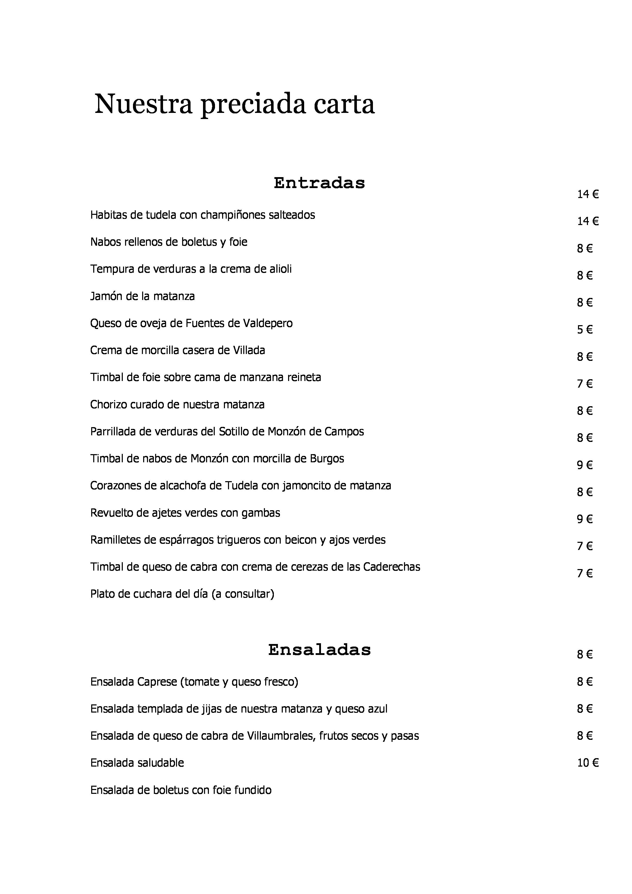 Restaurante la Concordia Carta