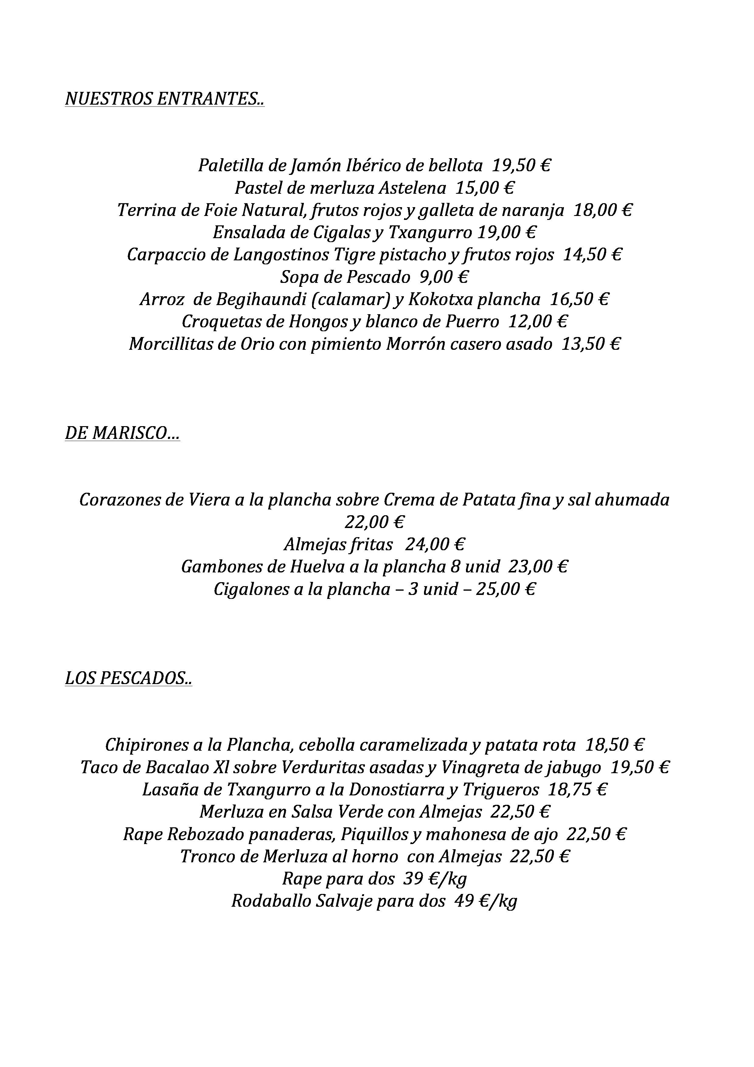 Astelena 1997 Restaurante Carta