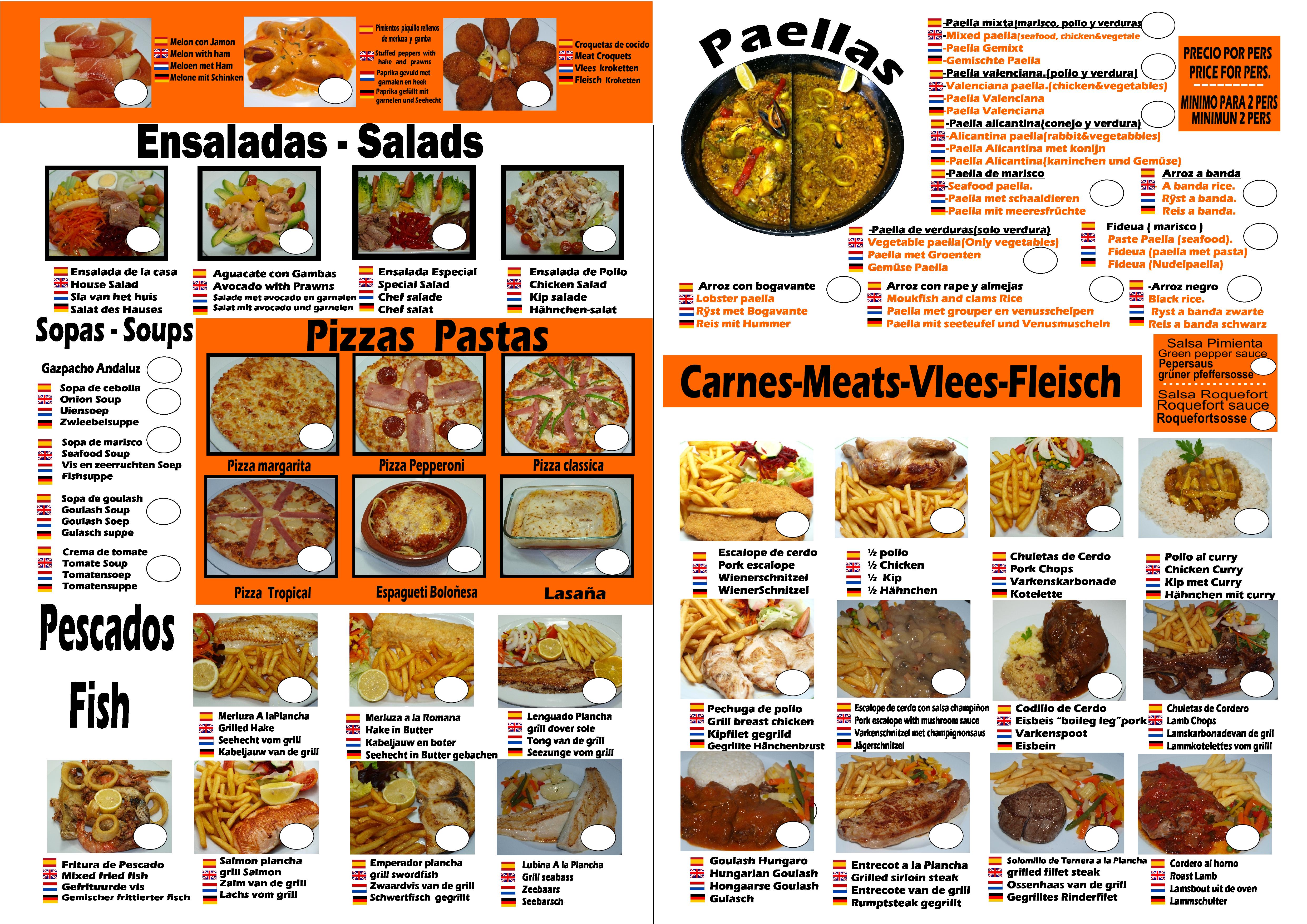 Restaurante Los Ranchos Carta