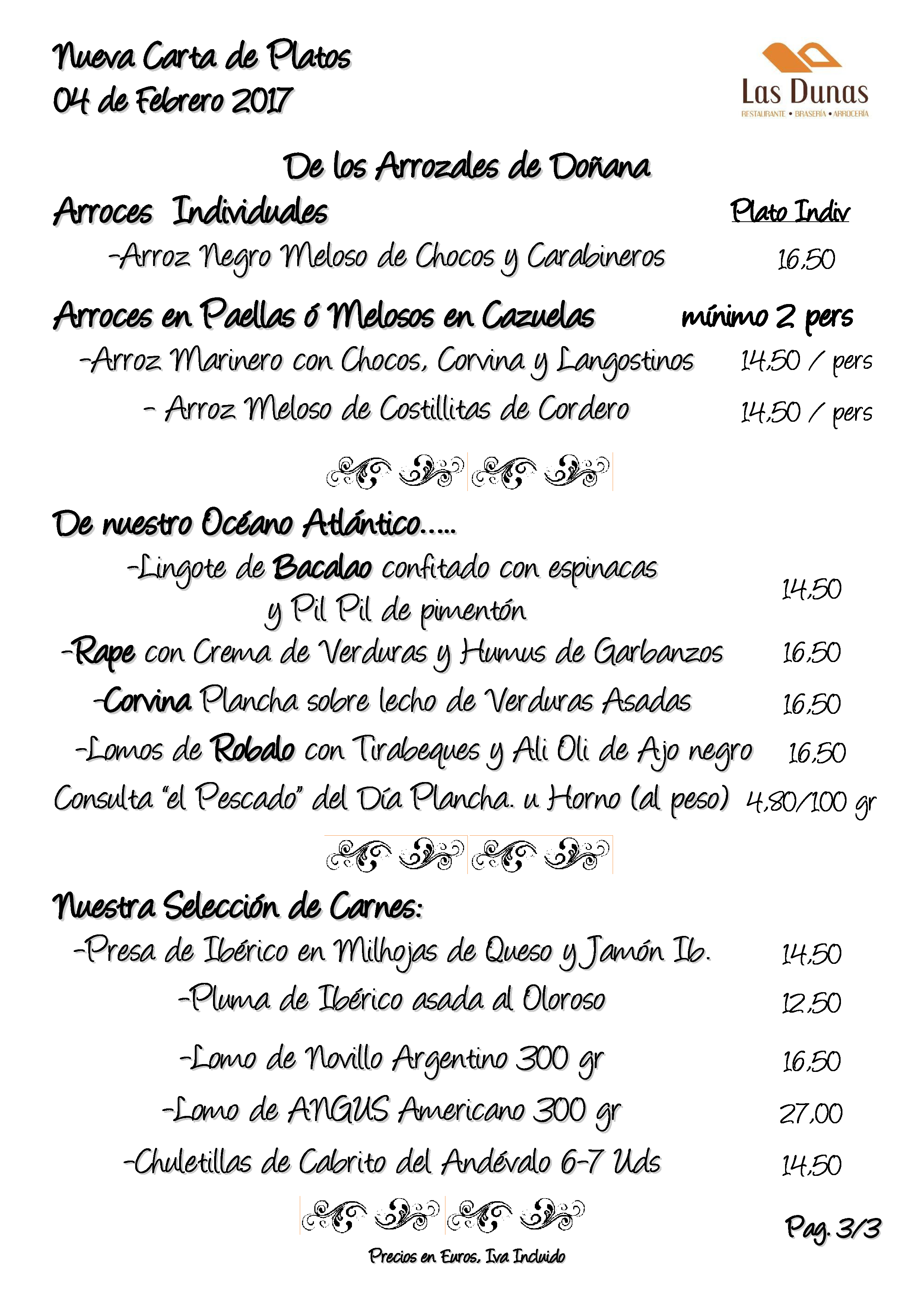 Restaurante Las Dunas Carta