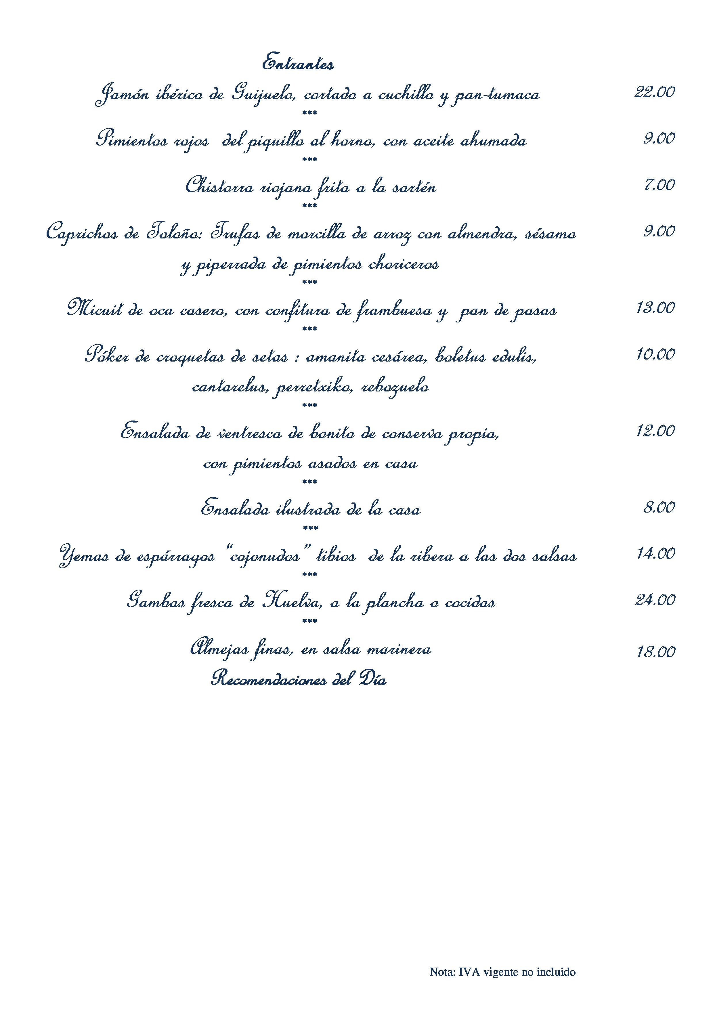 Restaurante Marixa Carta