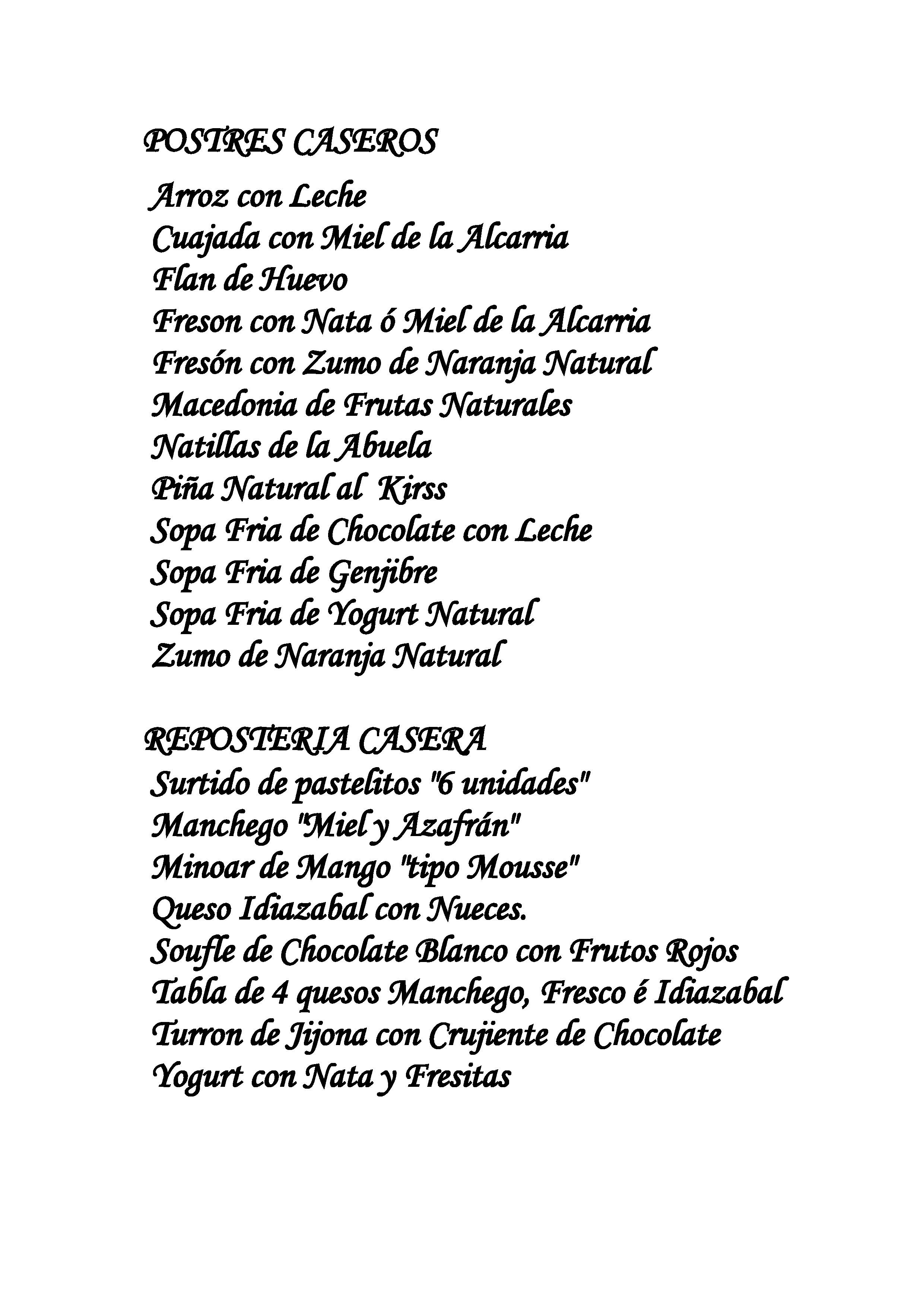 Asador Los Manchegos Carta