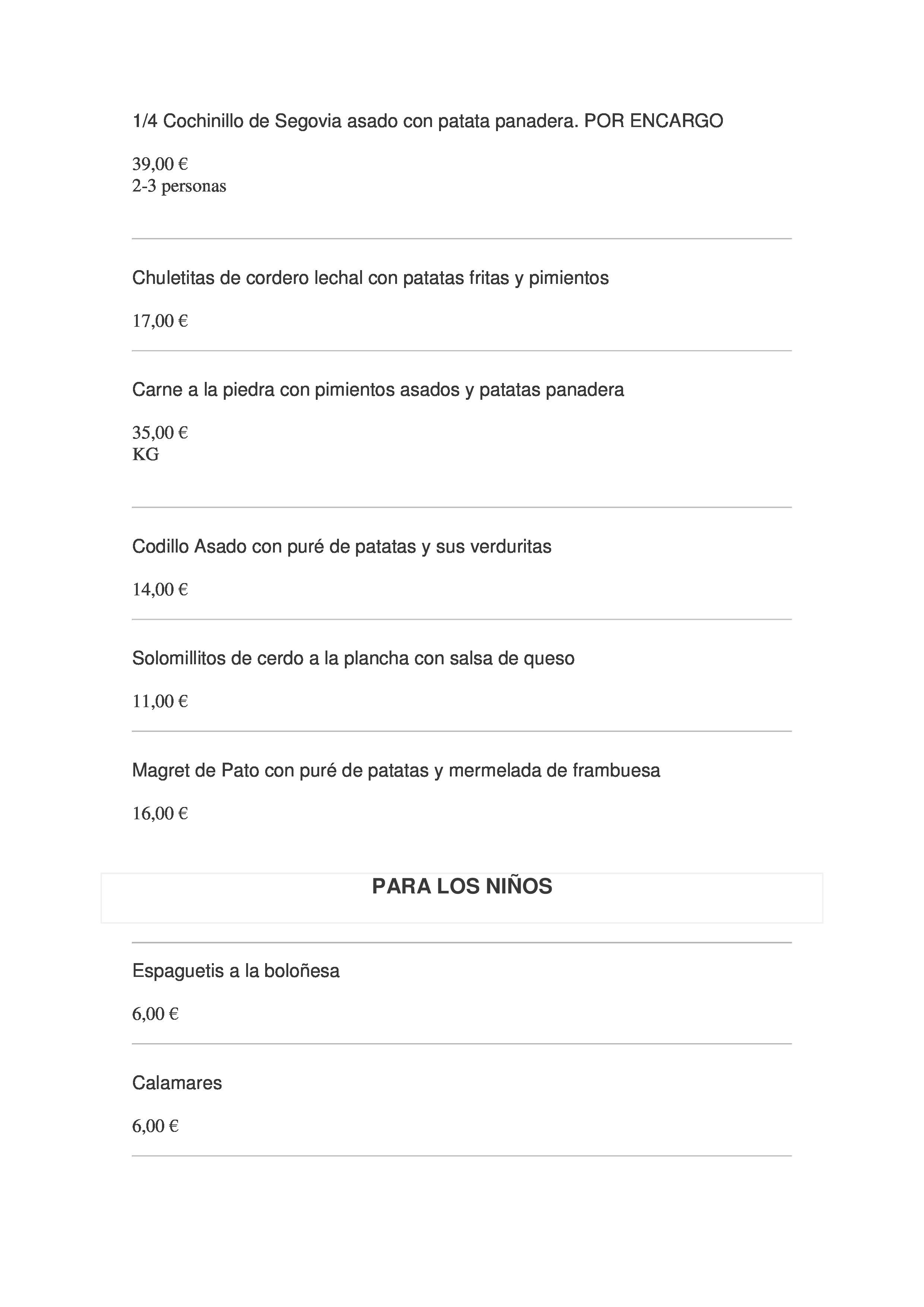 Los Olivos de Castilla Carta