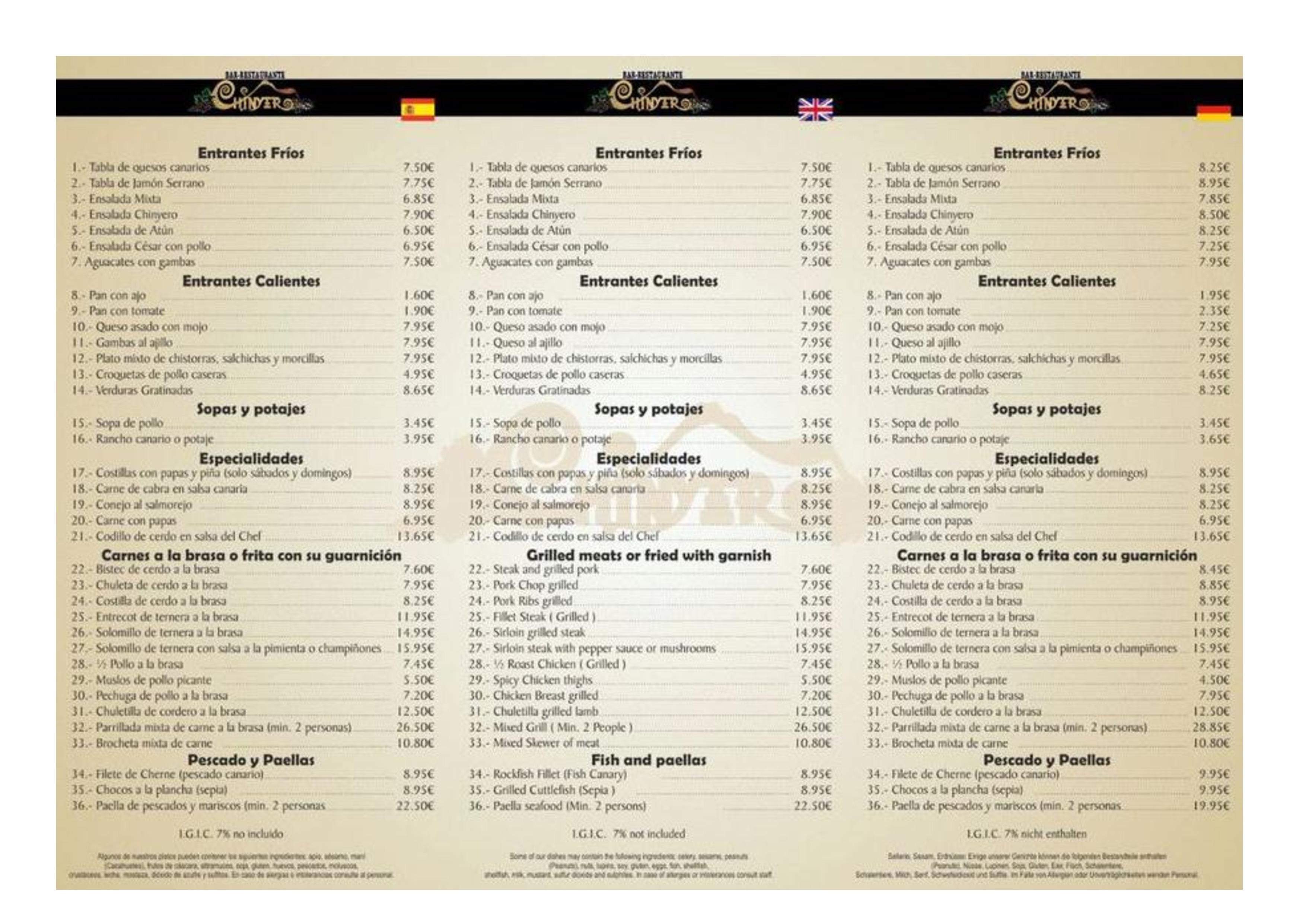 Bar Restaurante Bodega Chinyero Carta