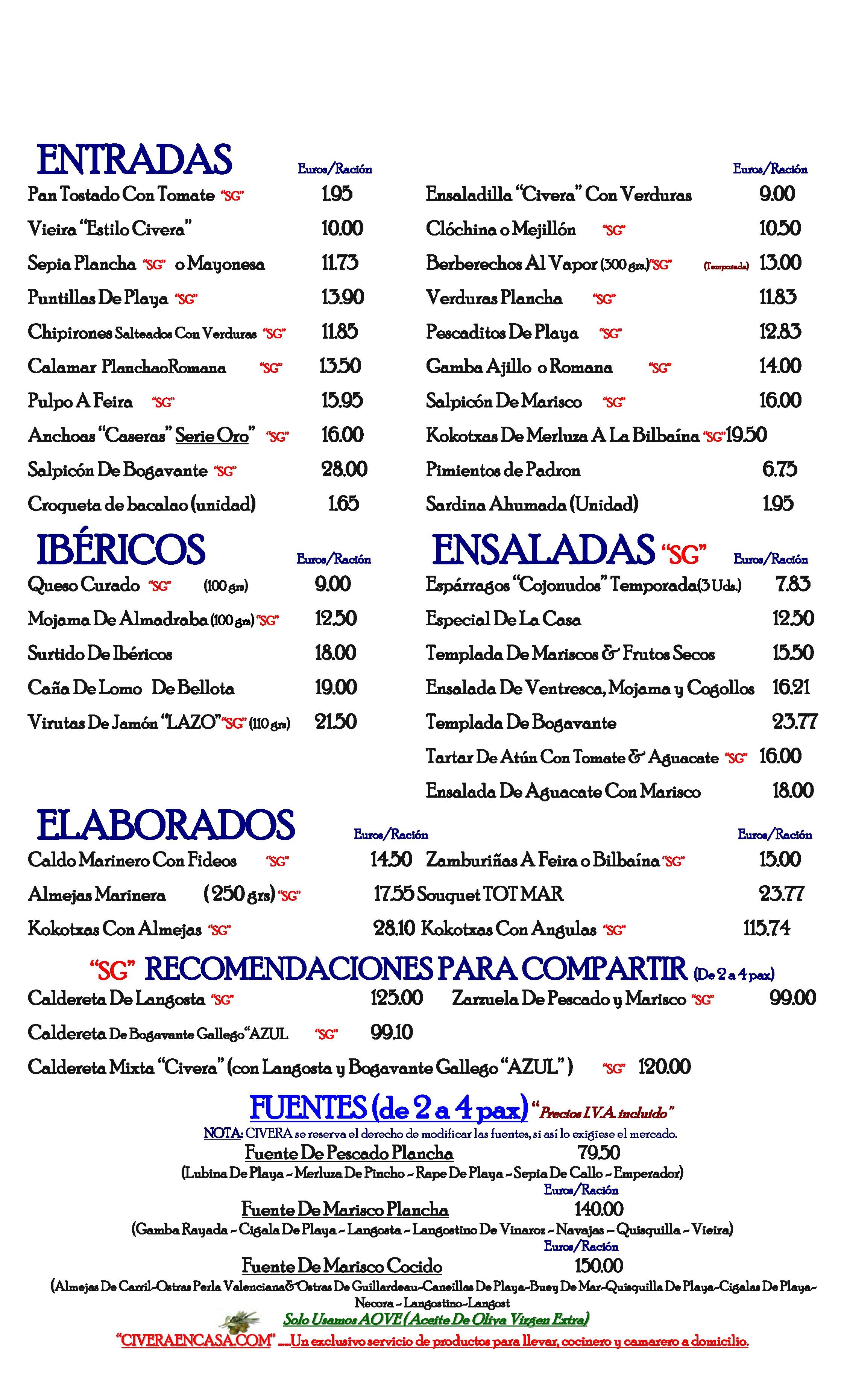 Restaurante Civera Carta