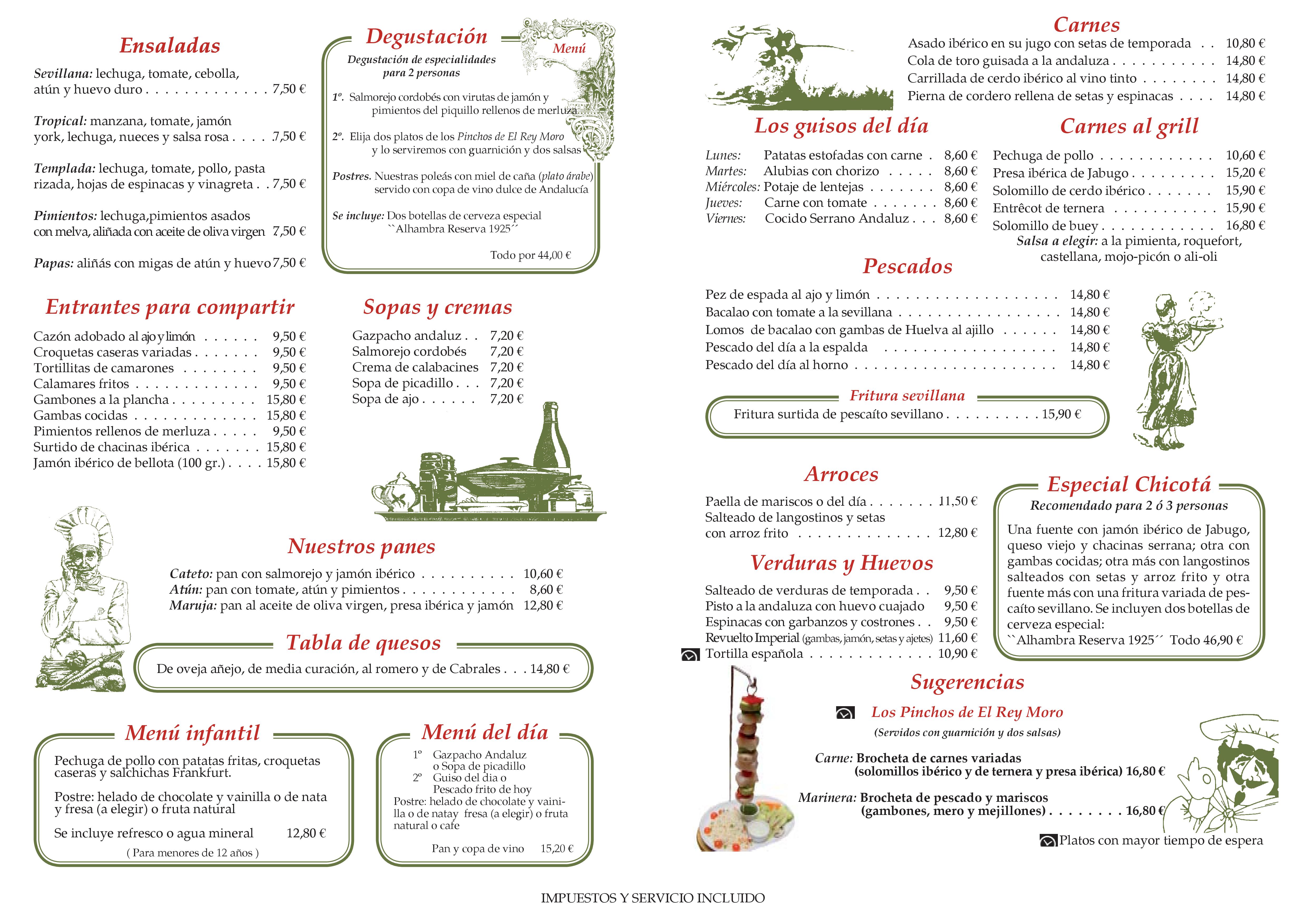 Antigua Taberna de Las Escobas Restaurante Carta