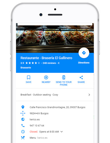 Alta de tu restaurante en Google My Business
