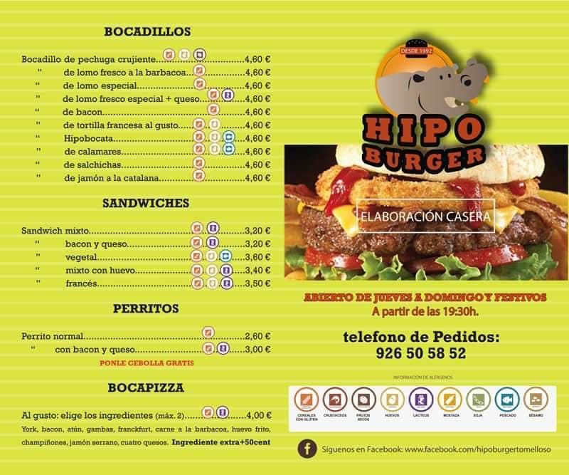 Hipo Burger Carta