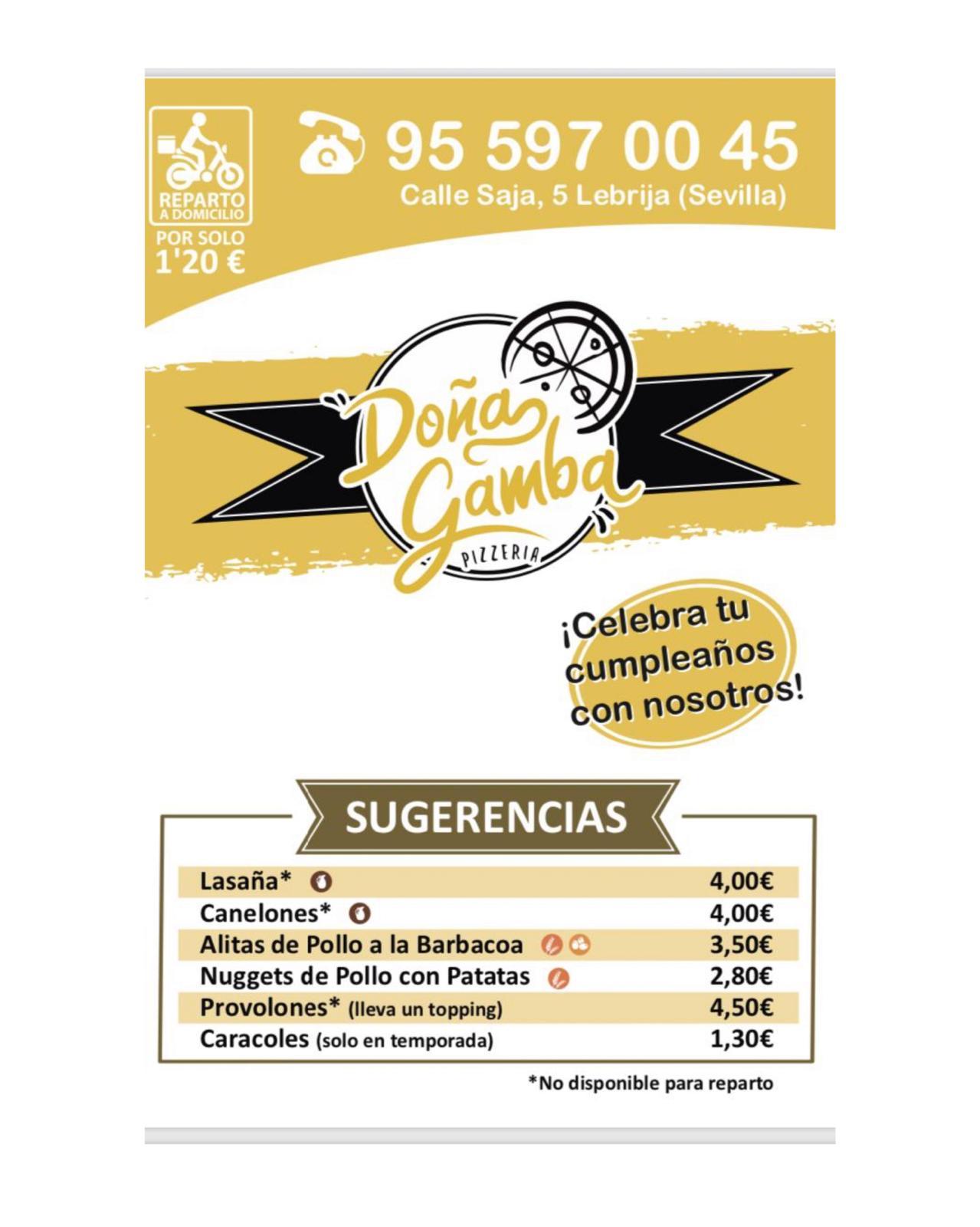 Pizzería Doña Gamba Carta