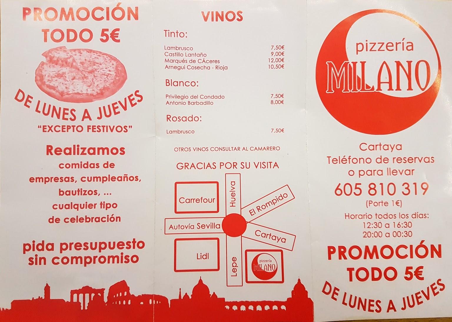 Pizzeria Milano Carta