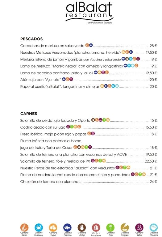Restaurante alBalat Carta
