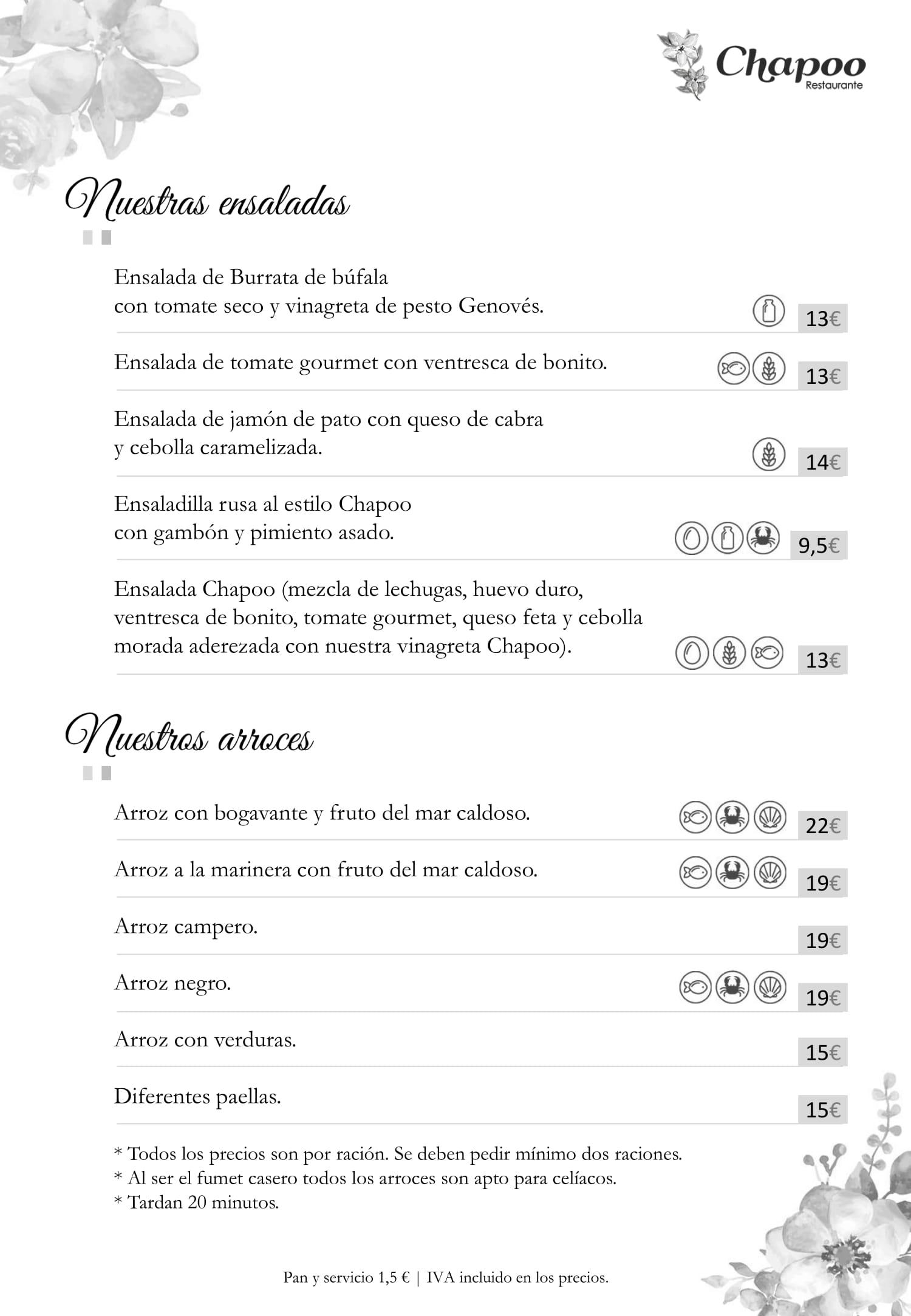 Restaurante Chapoo Carta