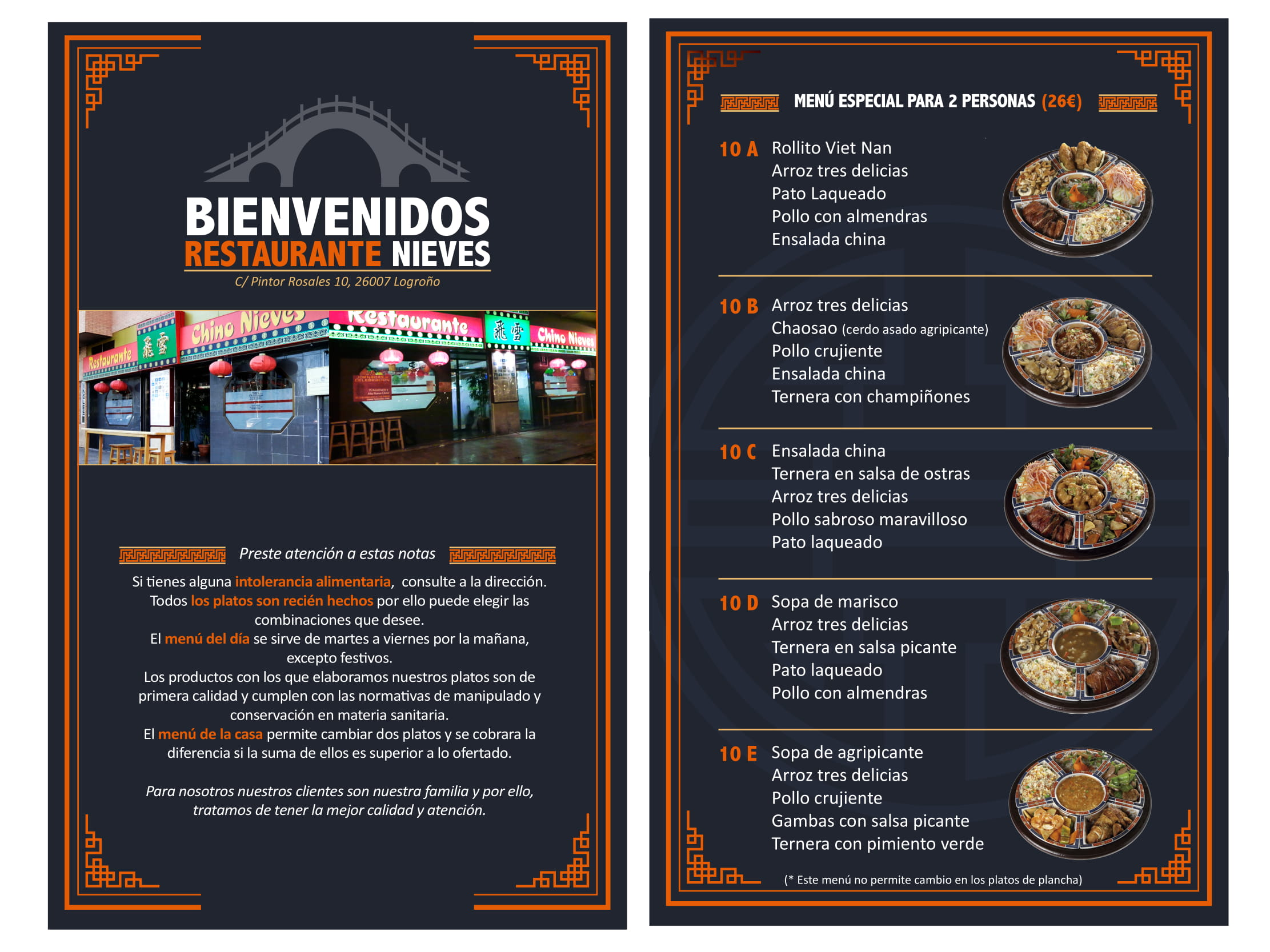 Restaurante Chino Nieves Carta