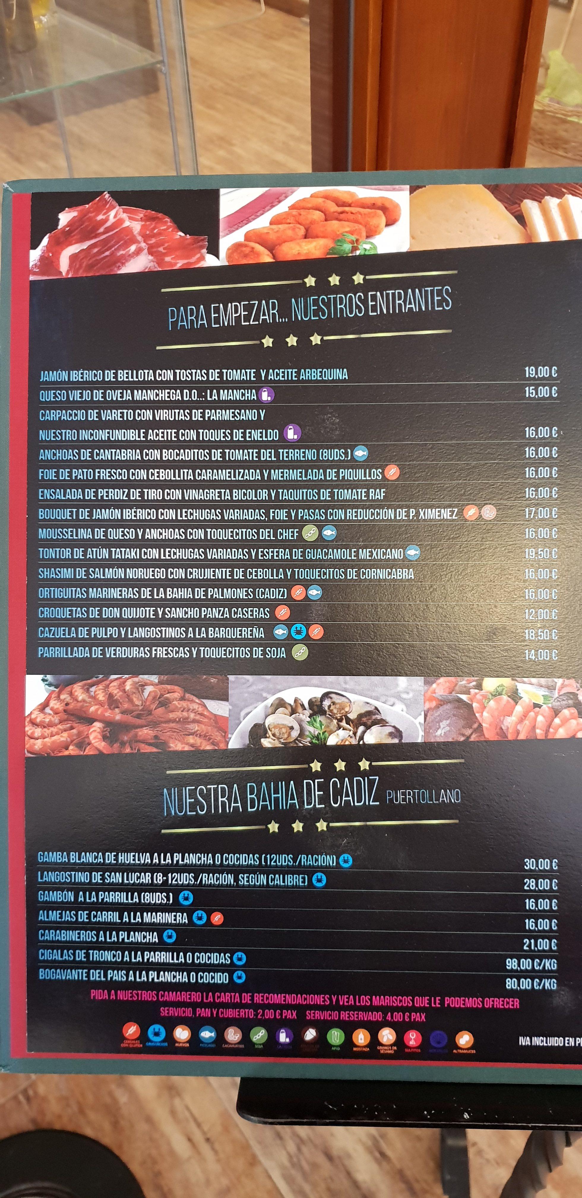 Restaurante el Mesto Carta