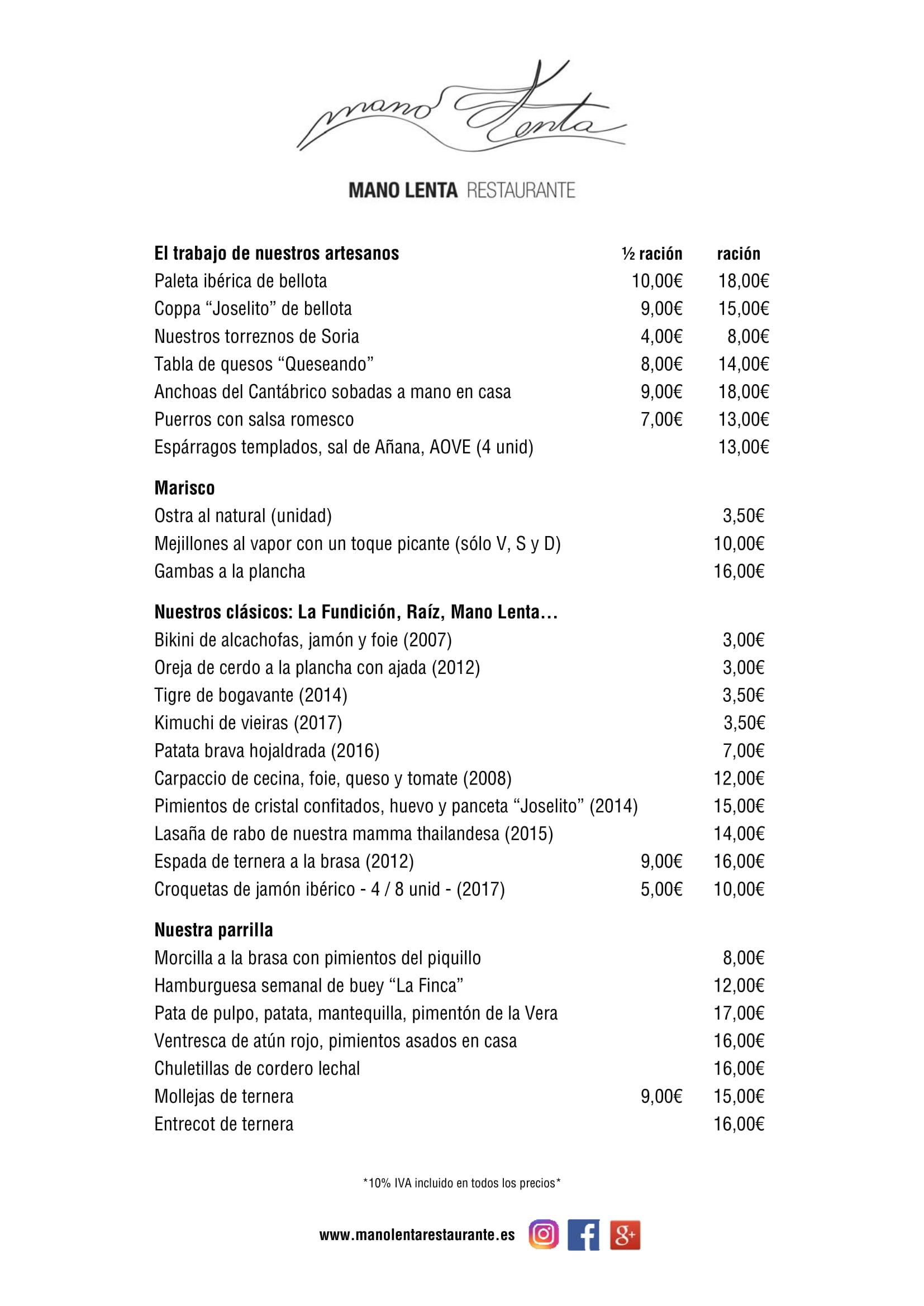 Restaurante MANO LENTA Carta